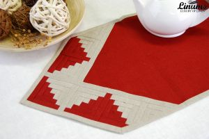 Table Runner 100% Linen Red/Gray Patchwork Different Sizes