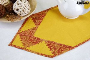 Table Runner 100% Linen Yellow Patchwork Different Sizes