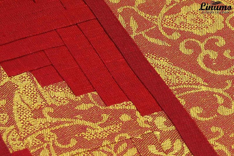 Table Runner 100% Linenjacquard Red Patchwork Different Sizes