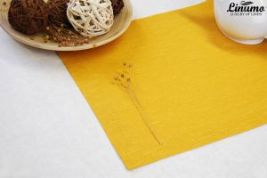 Table Runner in precious linen Yellow Different Sizes