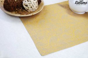 Table Runner in precious linenjacquard Yellow/Gray Different Siz