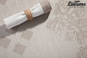 Tablecloth KYLL 100% Linen-Jacquard Gray Different Sizes