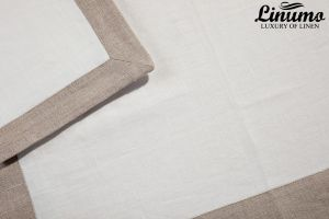 Tablecloth LAHN from 100% Linen withe/gray different sizes