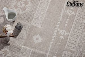Tablecloth NAAB 100% Linen-Jacquard Gray Different Sizes