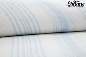 100% Linen Bedding Sheet LENNE Lightblue/White striped