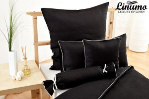 Bolster NAHE 100% Linen black with a white cord row