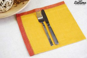 Classic linen napkin with a noble hemstitching 46x46cm yelow/red