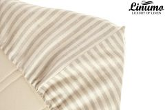 Fitted Bedding Sheet EMS 100% Linen White-Gray striped