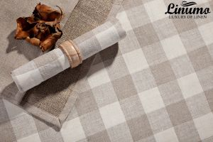 Napkin MOSEL 100% Linen Vichy-Checked natural Different Sizes