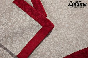 Tablecloth SAAR 50% Linen-Jacquard Red/Gray 190x300cm